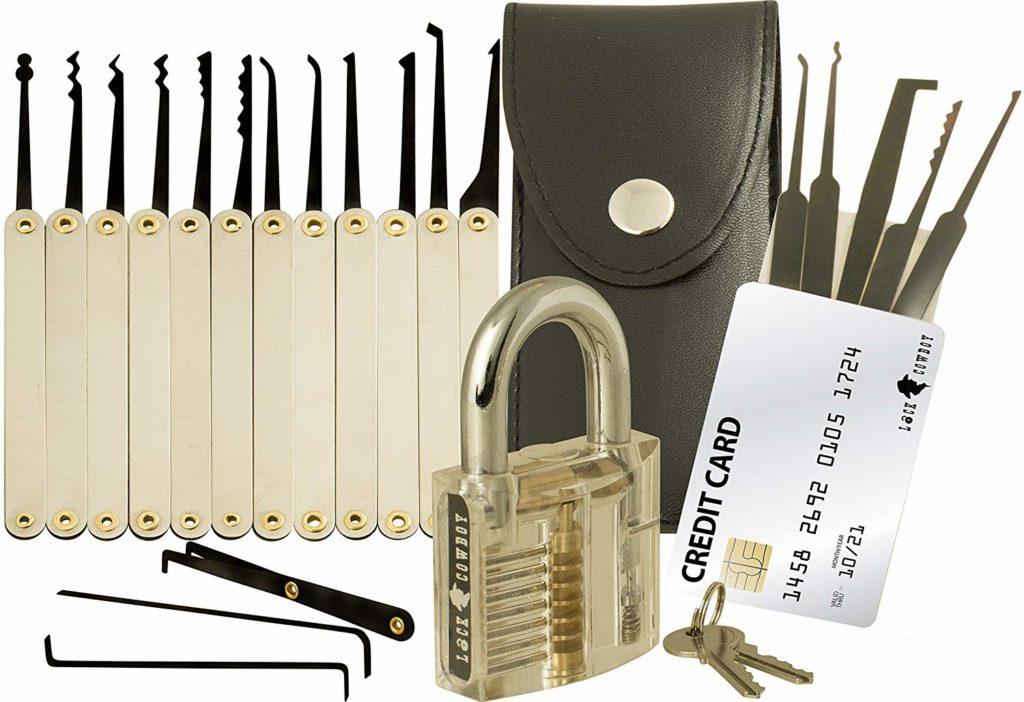 Dietrich Set Übungsschloss Profi mit Transparente 25-Teiliges Lock Picking Set